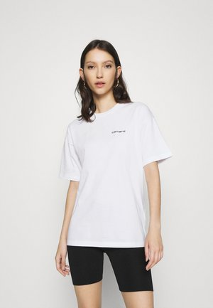 SCRIPT EMBROIDERY - T-shirts basic - white/black