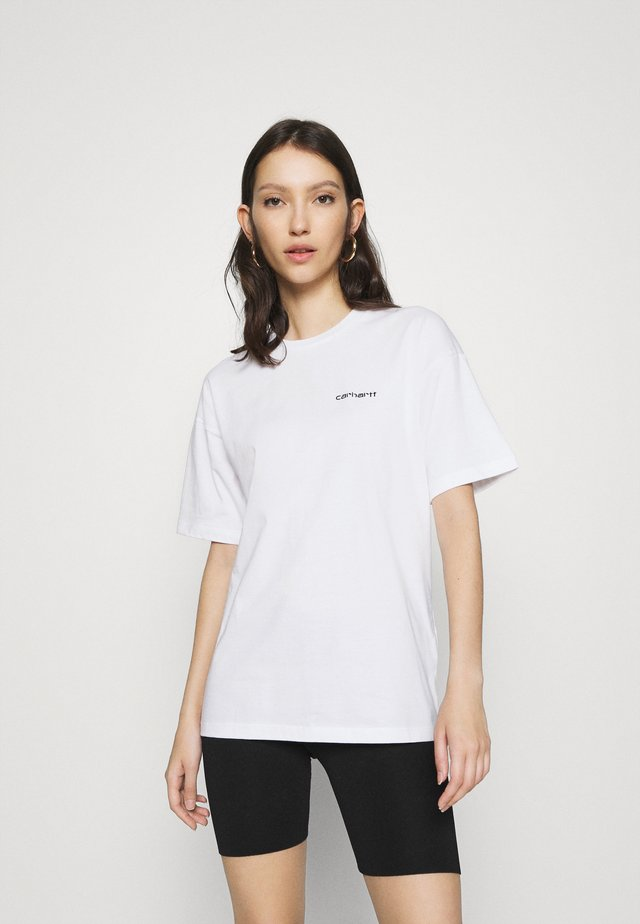 SCRIPT EMBROIDERY - T-shirt basic - white/black