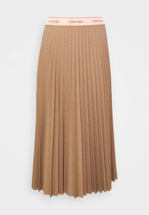 STRETCH PLEAT MIDI SKIRT - Spódnica trapezowa - hazel melange