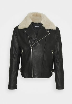 BLOUSON CUIR - Leather jacket - black/ecru