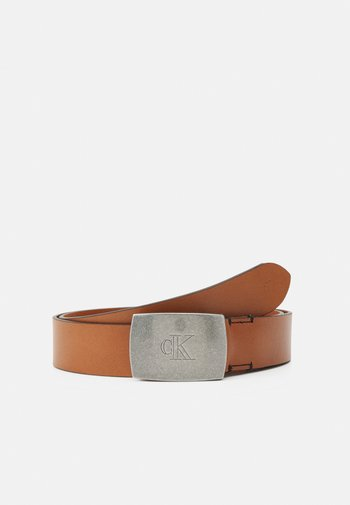 ROUNDED MONO PLAQUE BELT - Belt - brown
