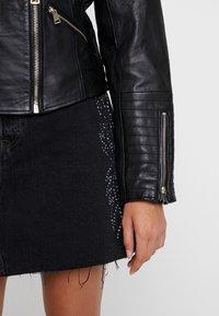 River Island - CATO JACKET - Leather jacket - black - 5