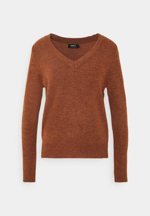 ONLCORINNE V-NECK  - Jumper - ginger bread melange