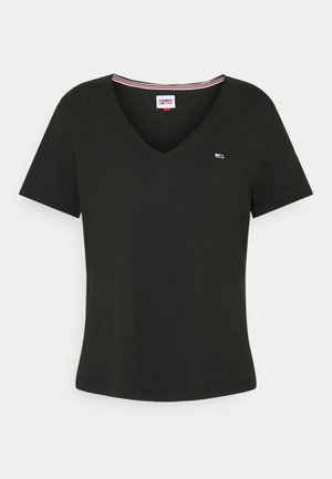 SLIM VNECK - Basic T-shirt - black
