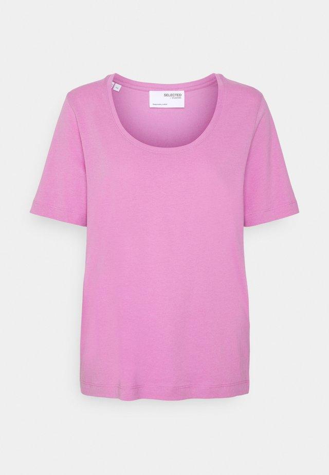 SLFSTANDARD U-NECK TEE COLOR - T-shirt basic - opera mauve