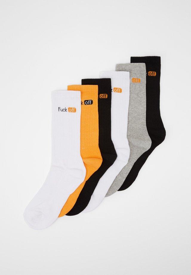6 PACK - Sokker - black/white/grey/neonorange