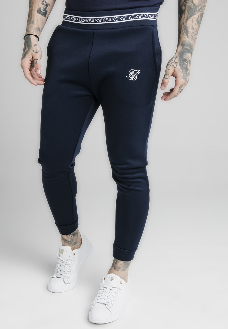 SIKSILK - ELEMENT MUSCLE FIT CUFF - Pantaloni sportivi - navy/white