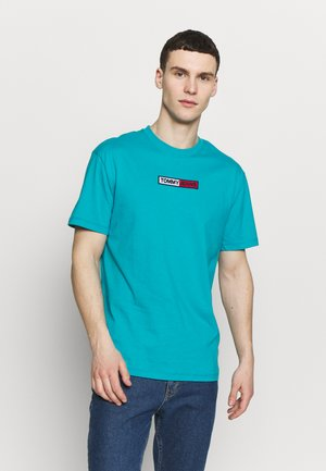 EMBROIDERED LOGO TEE - Print T-shirt - exotic teal