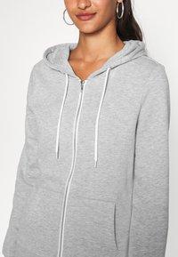 Even&Odd - Regular Fit Zip Sweat Jacket Contrast Cord - Hettejakke - mottled light grey - 4