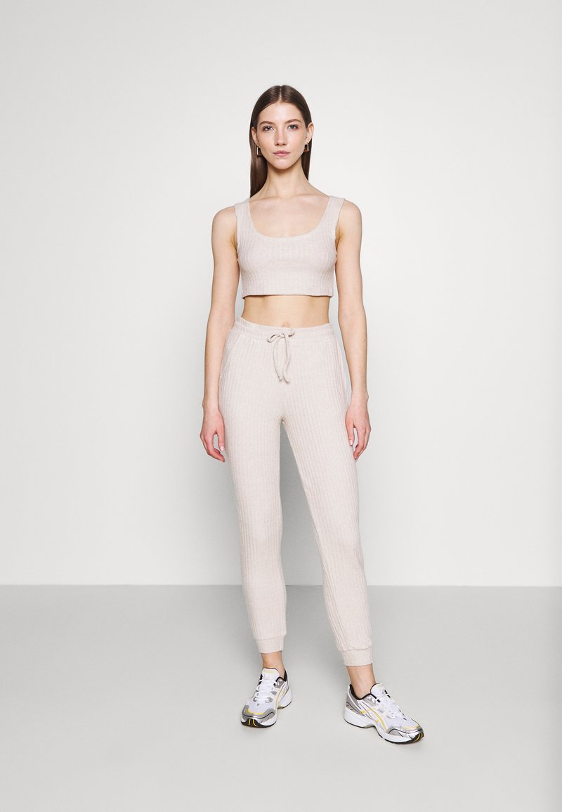 Topshop - COSY BRUSHED SET - Tracksuit bottoms - stone