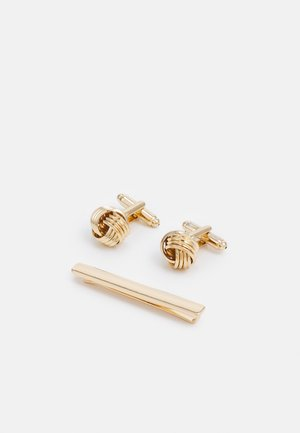 KNOT CUFFLINK AND TIEPIN SET - Manschettknapp - gold-coloured