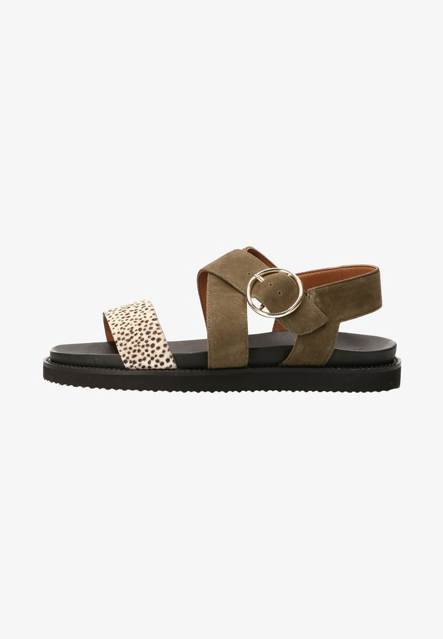 DION HAIRON - Sandals - green - pixel offwhi
