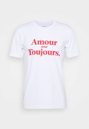 AMOUR POUR TOUJOURS UNISEX - T-shirt print - white/red