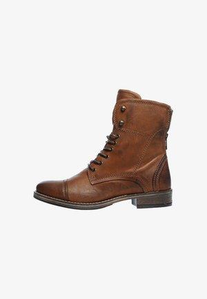 Cowboy/biker ankle boot - cognac