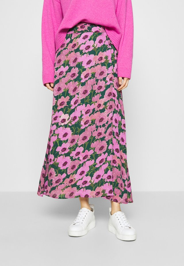 BOBO SKIRT - Zavinovací sukně - bottle green/fuchsia