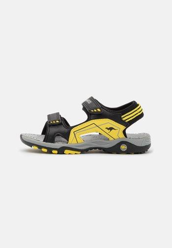 K-EVEREST - Walking sandals - jet black/sun yellow