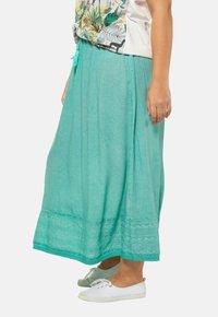 Ulla Popken - Pleated skirt - mottled turquoise - 1