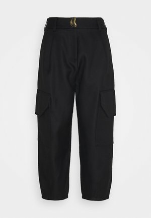 PANTS WITH PATCH POCKET - Spodnie materiałowe - black