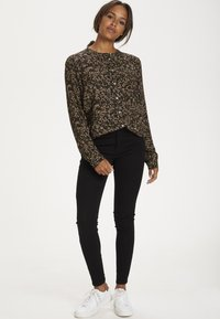 Kaffe - Blouse - black w.green/sand dot flower