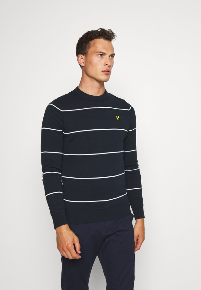 WIDE STRIPE CREW NECK JUMPER - Pullover - dark navy
