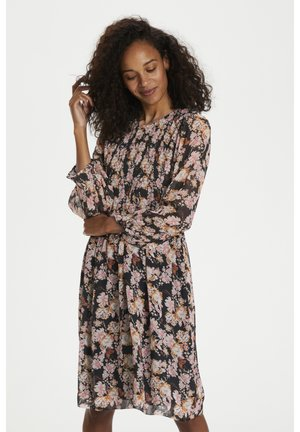 Day dress - winter rose print black