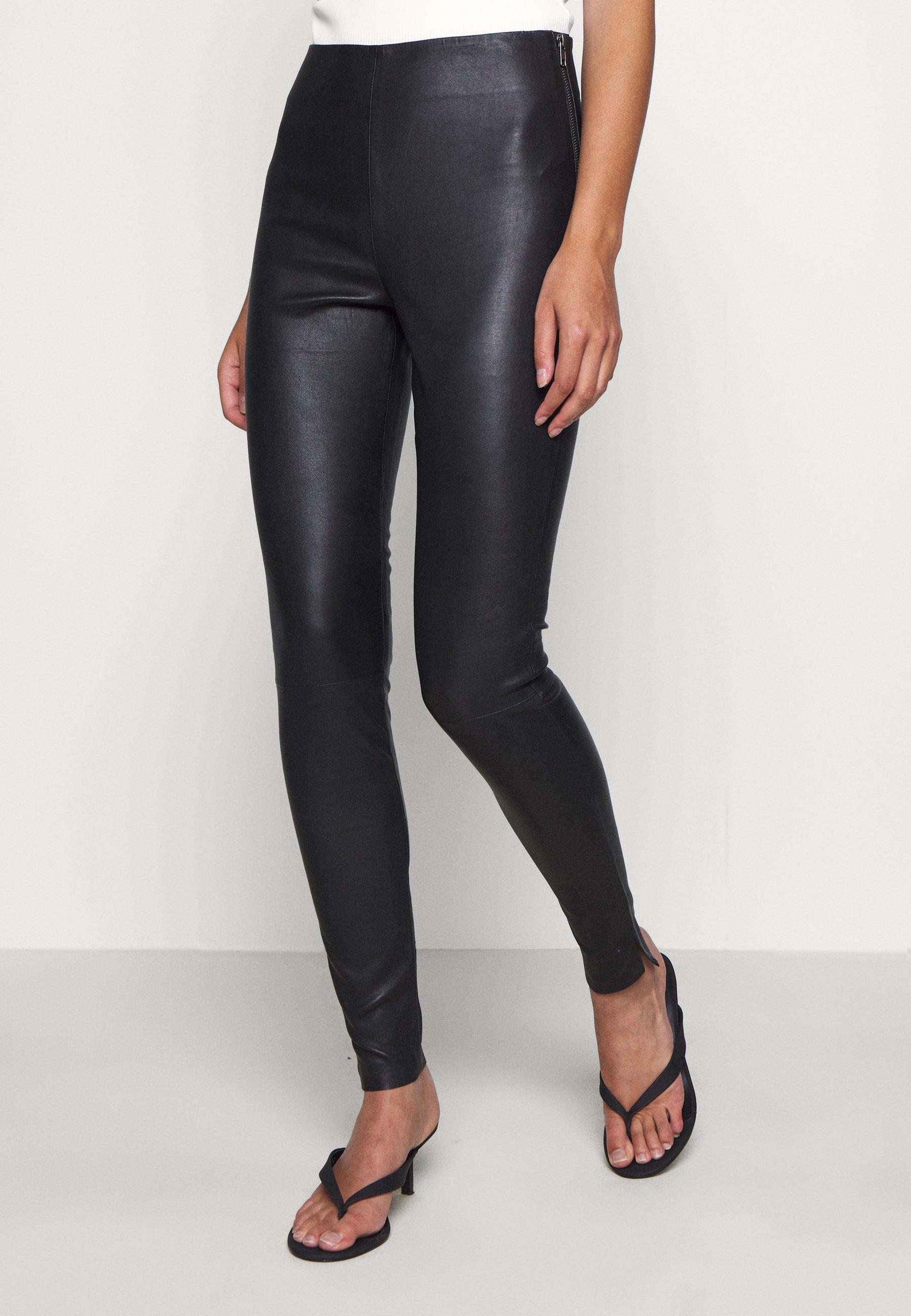 Original Women's Clothing DEPECHE Leather trousers black L4nz3e5SB