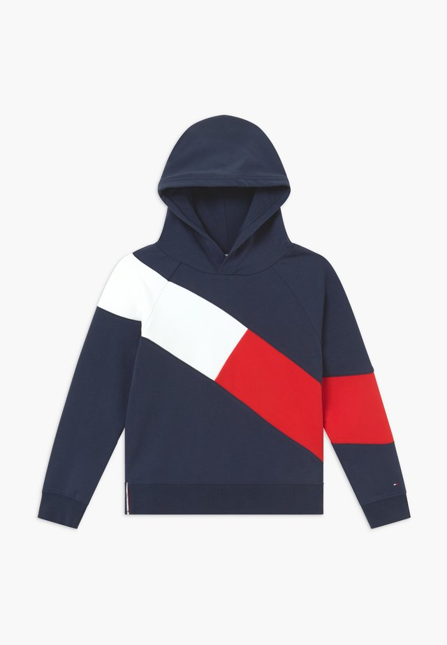 FLAG BLOCKING HOODIE - Sweat à capuche - blue