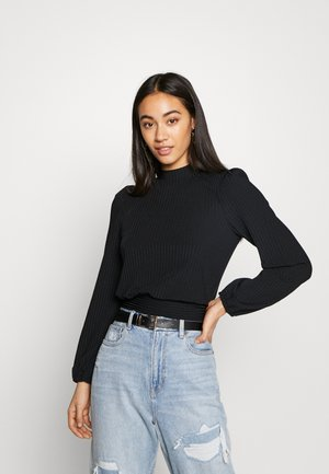 CARLEY RIB TIE TOP - Blouse - black