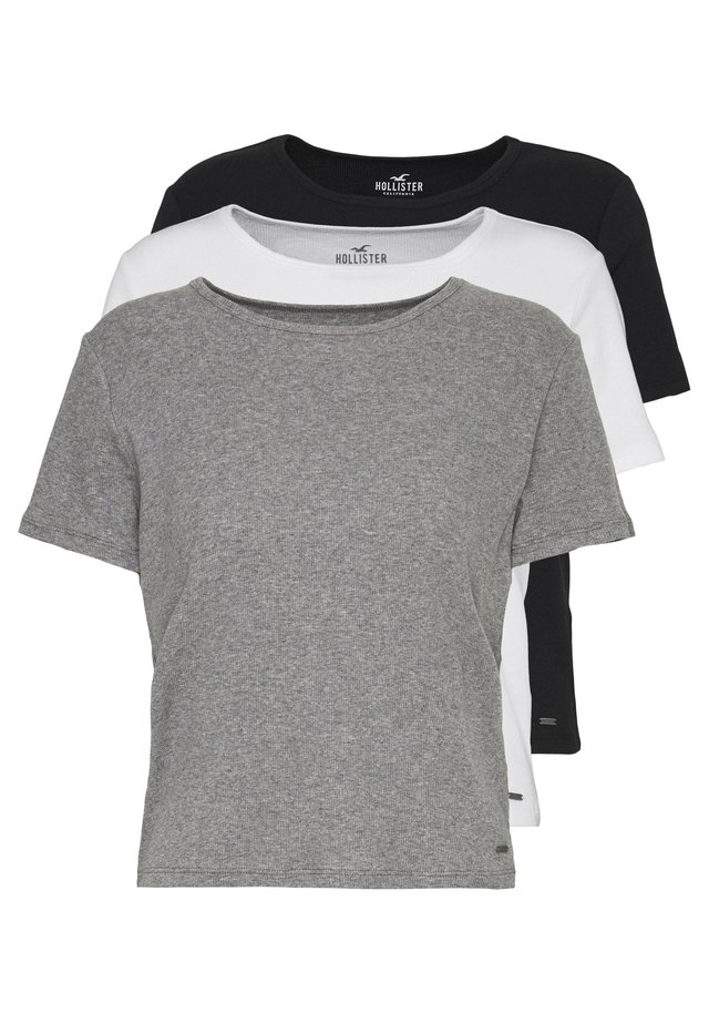 SLIM CREW BASIC 3 PACK - T-shirt basic - white/grey/blue