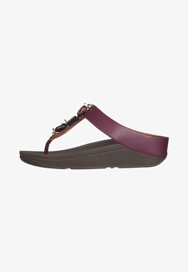 TOE POST FINO - T-bar sandals - lingonberry