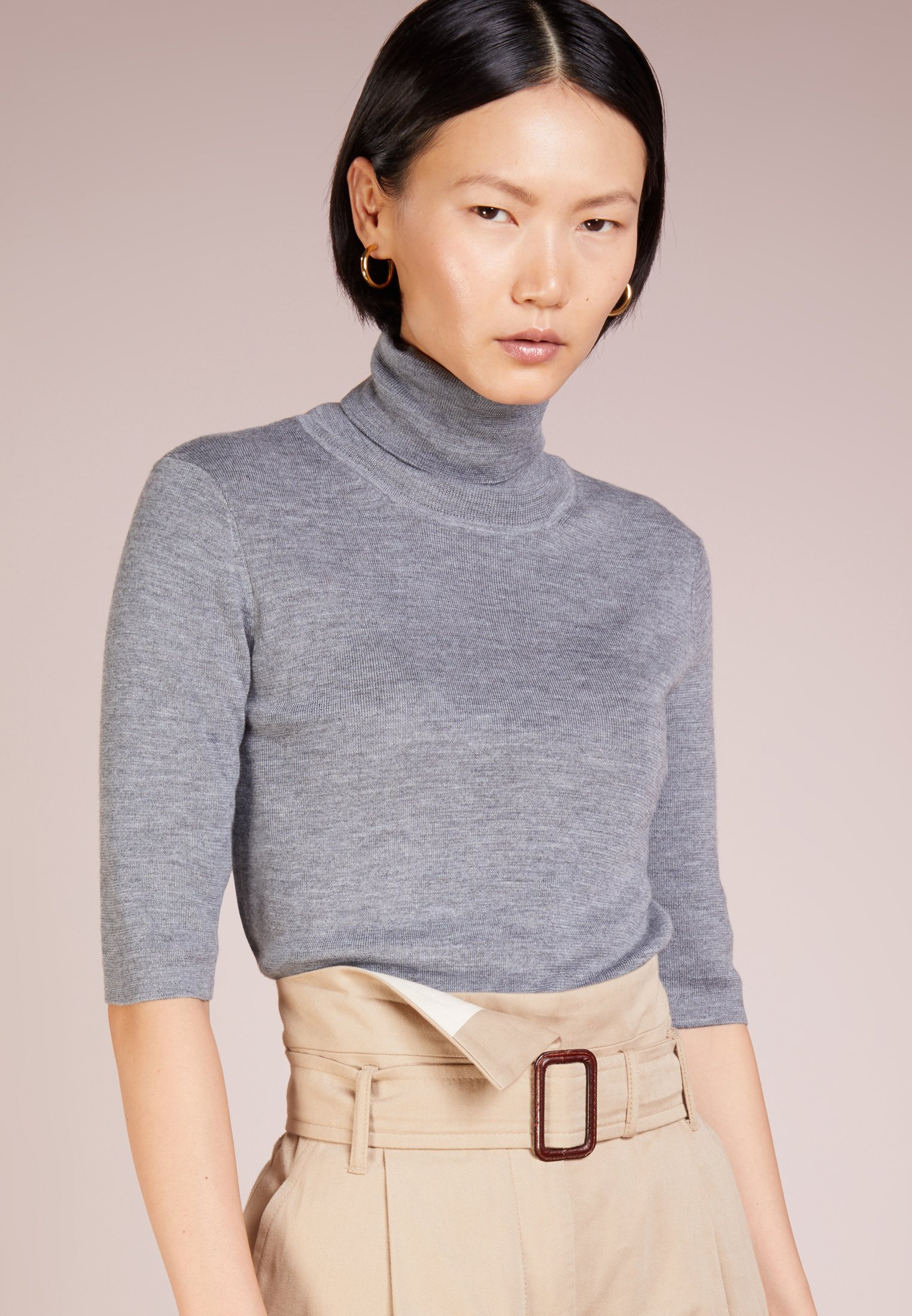 Women ELBOW SLEEVE - Basic T-shirt - mid grey
