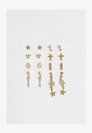 SET OF 9 - Earrings - gold-coloured