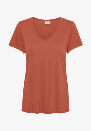 ANNA V NECK - T-shirts basic - dull orange