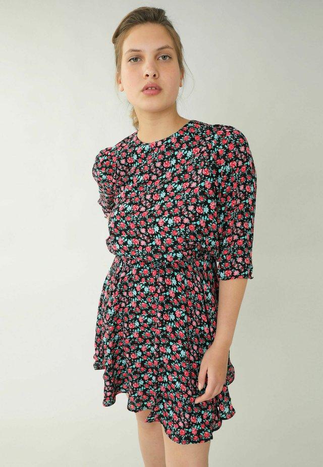 Korte jurk - schwarz  rot