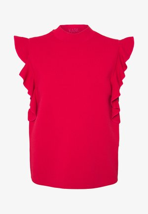 COLORBLOCK RUFFLE CROP - T-Shirt print - red