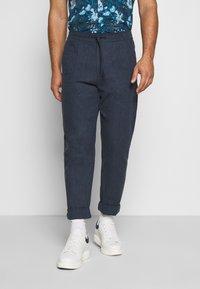 Lindbergh - WIDE PANTS ELASTIC - Trousers - dark blue mix - 0