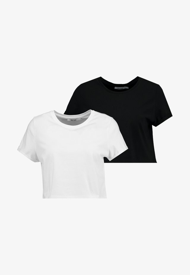 2-PACK CROP - T-shirt med print - black/white