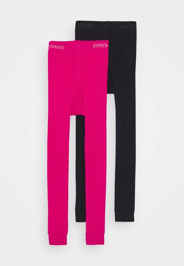 2 PACK - Leggings - schwarz/pink