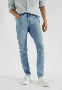 Massimo Dutti - MIT STRUKTURMUSTER - Slim fit jeans - blue/black denim - 0