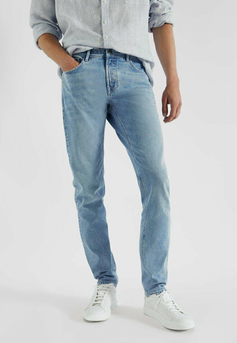 Massimo Dutti - MIT STRUKTURMUSTER - Slim fit jeans - blue/black denim