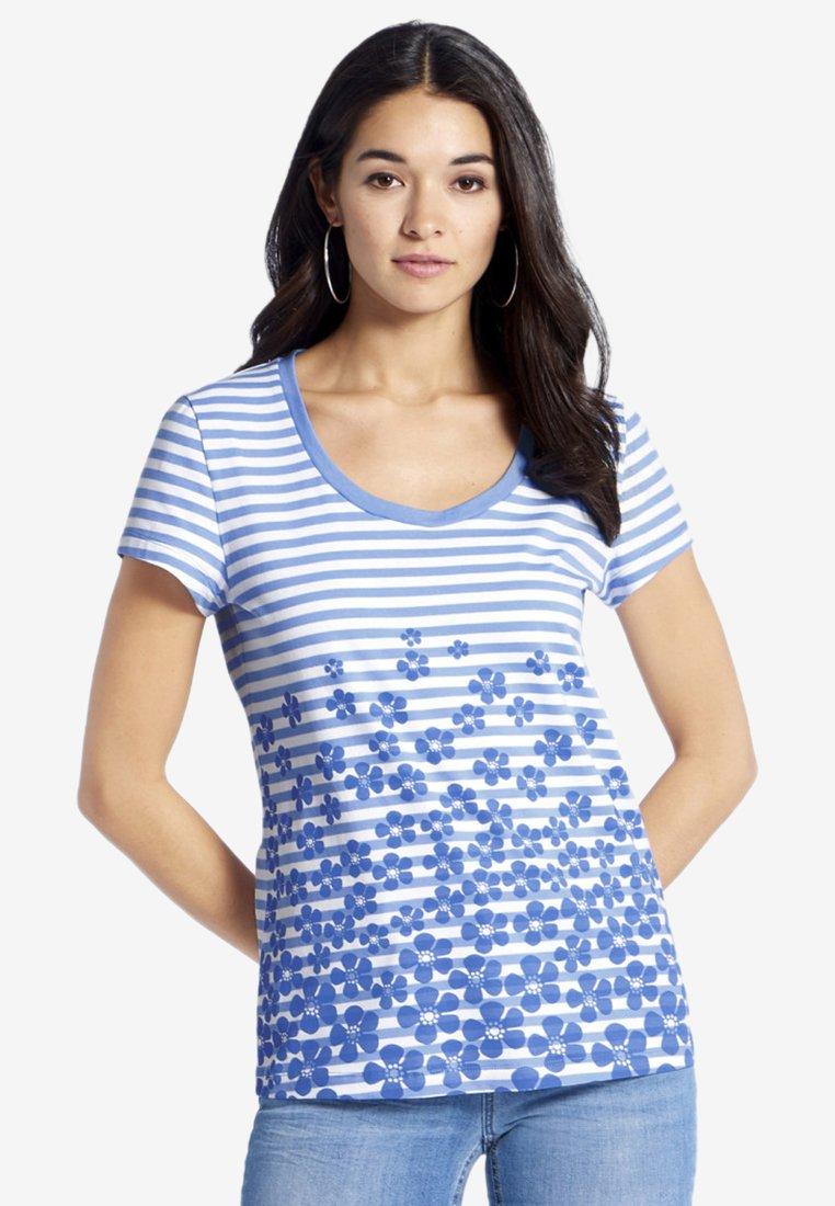 PETER HAHN - Print T-shirt - light blue