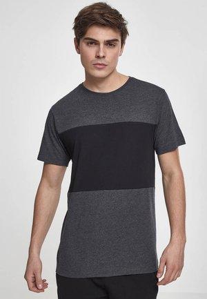 CONTRAST PANEL - Print T-shirt - charcoal/black