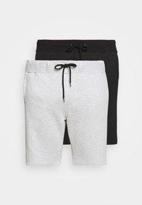 Pier One - 2 PACK - Shorts - black/mottled light grey - 4