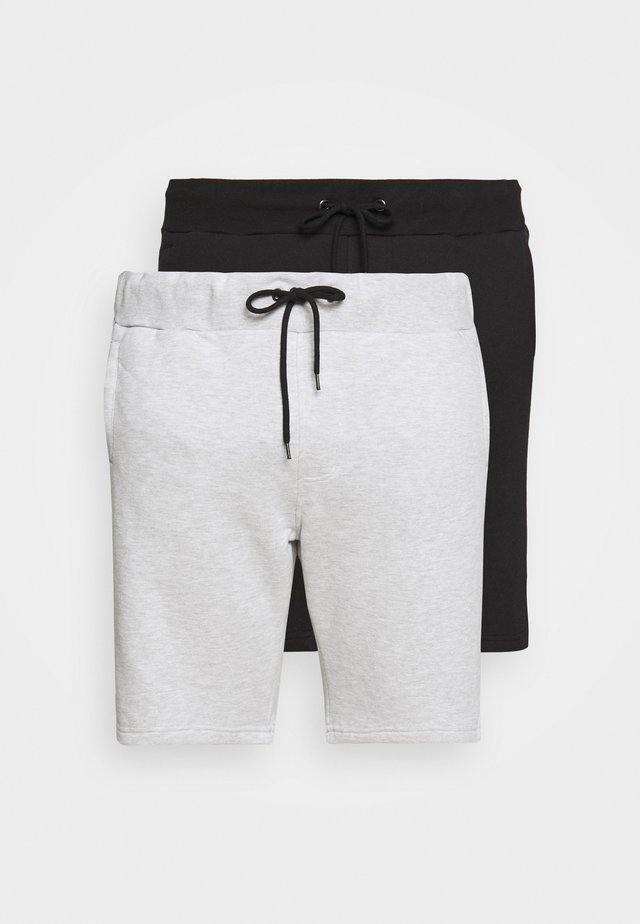 2 PACK - Shorts - black/mottled light grey