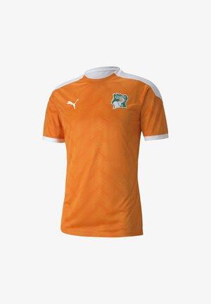 Print T-shirt -  white-flame orange
