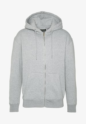 JJESOFT ZIP HOOD - Mikina na zip - light grey melange/relaxed