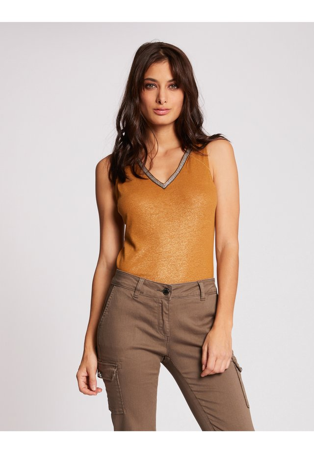 WITH LARGE STRAPS AND STRIP - Top - ochre