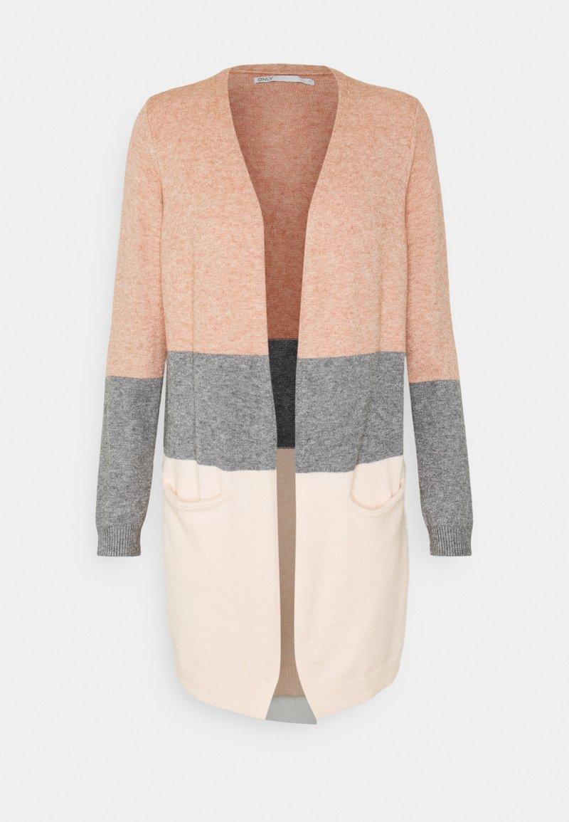 ONLY Tall - ONLQUEEN LONG CARDIGAN  - Kardigan - misty rose/medium grey melange/cloud pink melange