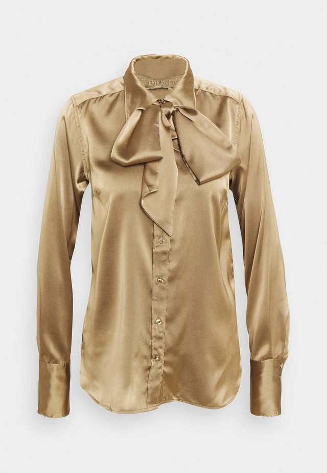 NICOLA 2 TONE - Button-down blouse - latte macchiato