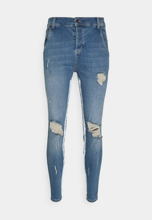 SKINNY DISTRESSED PAINT - Jeans Skinny Fit - midstone/white